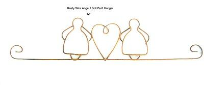 Rusty Wire Angel Doll Quilt Hanger 12""