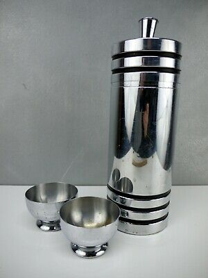 VTG Chase Art Deco CHROME Black Gaiety MARTINI Cocktail Shaker + TWO Cups