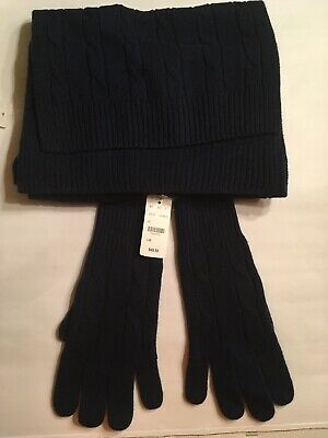 Brooks Brothers Women's Italian Yarn Merino Wool Scarf & Cable Knit Gloves NWT