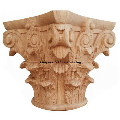 "Solid Carved Roman Corinthian Capital for 3-1/2"" Full Round Column"