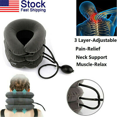 Air Traction Inflatable Cervical Neck Head Pain Traction Support Brace Massager