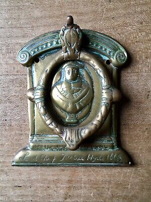 Vintage Brass Door Knocker Salisbury Cathedral Lord Chief Justice Small Antique