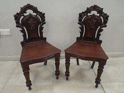 Pair of Antique Victorian Mahogany Hall Chairs