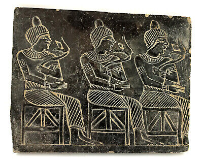 Relief Egyptian Plaque Sculpture Wall Pharaoh Ancient Antiques Egypt Dark basalt