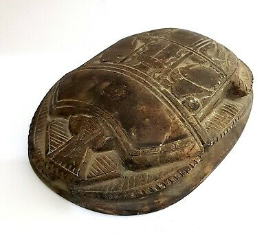 Huge hieroglyphic Heart Scarab Egyptian Ancient Stone Antique Faience Amulet art