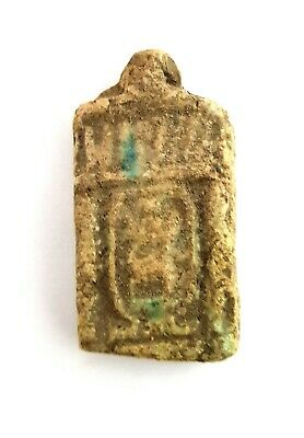 Egyptian Amulet hieroglyphic Ancient Faience Bead Necklace Mummy Antique Rare