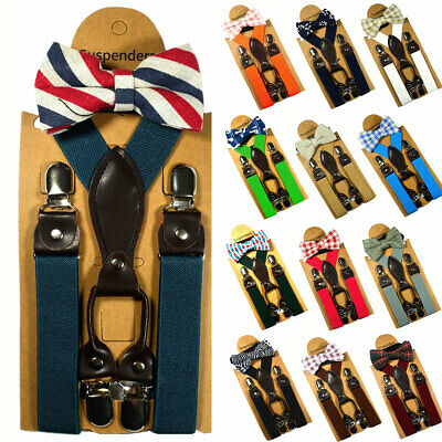 Children Kids Baby 4 Clips Suspenders Bow Tie Boys Girls Braces Party Wedding