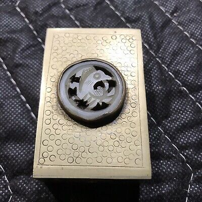 Vintage / Antique Chinese Brass Match Box Holder ~ Etched