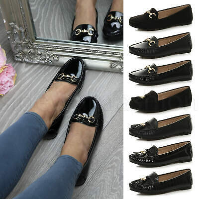 Womens ladies tassel buckle moccasins loafers ballet flats dolly shoes size