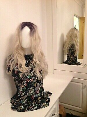 Ladies/Mens Long Blonde Sexy Curly/Wavy Wig