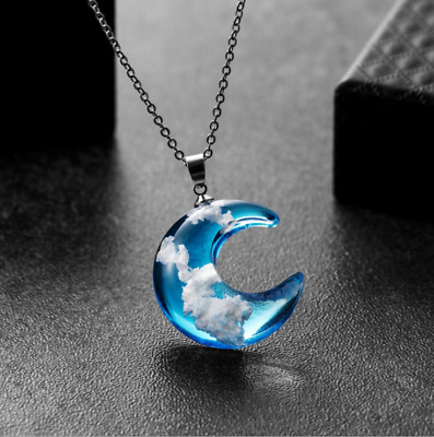Transparent Resin Round Ball Moon Pendant Blue Sky White Cloud Chain Necklace