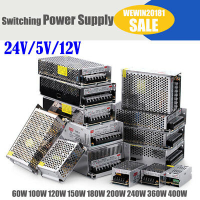 DC 12V/5V/24V Universal Regulated Switching Power Supply Metal Silver with Fan