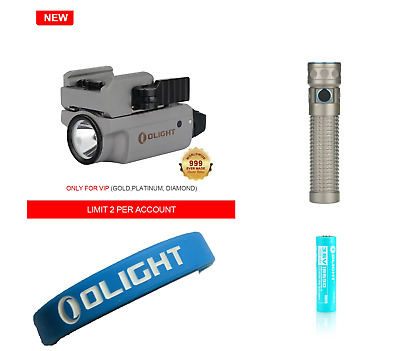 Olight Titaniumn Bundle PL-MINI 2 Valkyrie Ti 1 - 999 + Baton Pro Ti w/2 Battery