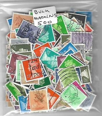 Bulk Great Britain : 500 Used Machins  Stamps Off Paper !!****Free Shipping****