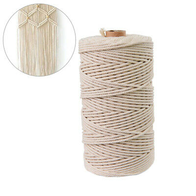 1 Roll 100M Natural Cotton Rope Decorative Soft Twisted Cotton Cord for Handmade