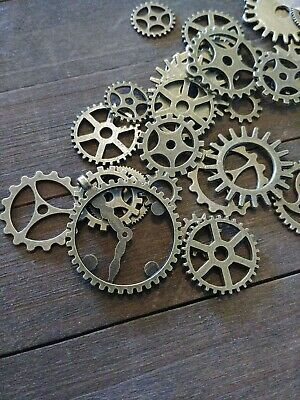 10 Clock Gears Cogs Parts Antiqued Bronze Steampunk Supplies Assorted Mix Spurs