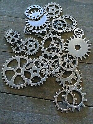 10 Clock Gears Cogs Parts Antiqued Copper Metal Steampunk Supplies Assorted Lot