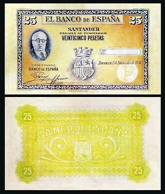 Facsimil Billete 25 Pesetas de 1936 Santander - Reproduction