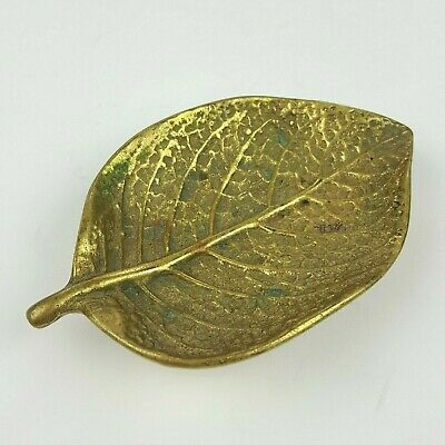 Virginia Metalcrafters Episcea Small Solid Brass Mulberry Leaf Dish 1948 3-30