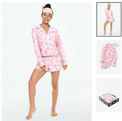 Victorias Secret PINK PAJAMA FLANNEL SLEEP SET GIFT SET CANDY CANE HEARTS XS