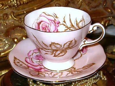 Pink Rose on Pink Tea Cup & Saucer EB Foley 1850 Bone China Hand Painted Vintage