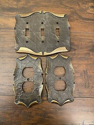 Vintage Light Switchplate Cover & Outlet Covers Brass Gold 1970's Metal 3 Toggle