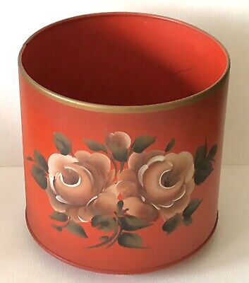 Vintage Handpainted Nashco Tin Tole Toleware Red Yello Rose Planter Canister Can