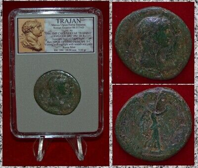 Ancient Roman Empire Coin TRAJAN Victory On Reverse SPQR Bronze As
