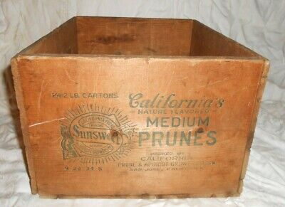 "1934  Antique  Sunsweet"" Prunes San Jose,California  Advertising Wood Box Crate"