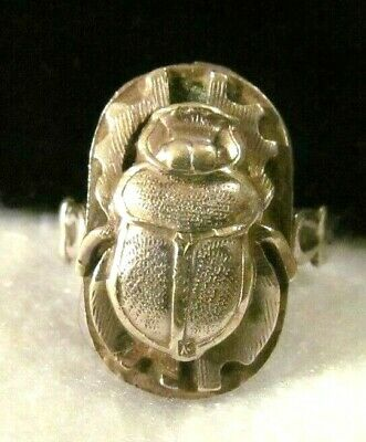 VINTAGE Egyptian INTAGLIO Cartouche SCARAB Sterling Silver PUFFY Ring women men