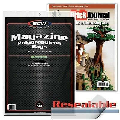 """50 Resealable Magazine Bags Sleeves Protect 8 3/4"""" x 11 1/8"""" Print New BCW Lot"""