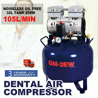 Dental Air Compressor Noiseless Oil Free Oilless 32L 850W For Dental Lab Equip