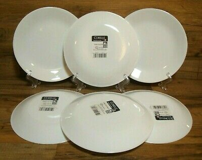 """Set Of 6 - Corelle - Winter Frost White - 8 1/2"""" Luncheon Plates - Nwt"""