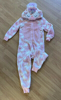 NEXT Girls Pink Fluffy Unicorn Onesie (not Gerber) Age 9 Years - VGC