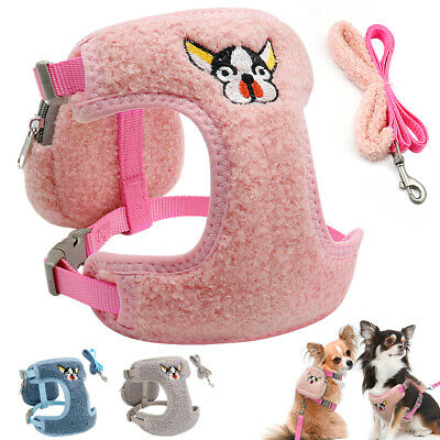 Soft Fleece Small Dog Harness&Lead&Treat Bag Set Mesh Padded Pet Puppy Cat Vest