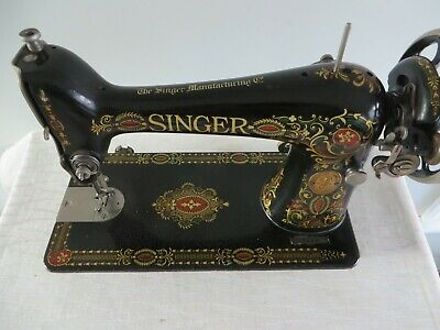 Antique Ornate Red Eye Singer Treadle Sewing Machine Red-Eye Vibrant Colors