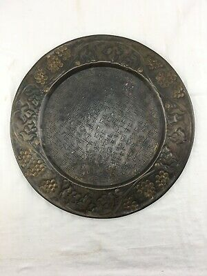 "VINTAGE BRASS Embossed Plate Tray ROUND 13"" Heavy Grapevine Charger Vtg Decor"