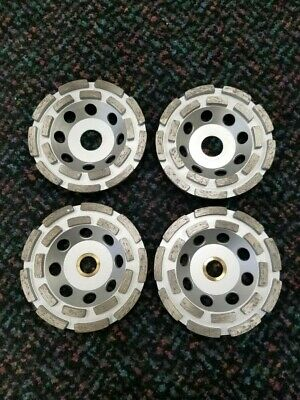 """Silver 4.5"""" Double Row Diamond Cup Grinding Wheels - 4 Pack"""