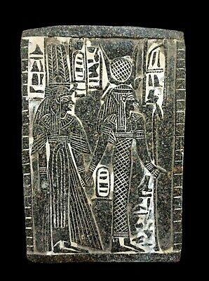 Relief Wall Plaque Egyptian Antique Stela W/T Hieroglyphics King Osiris & Isis