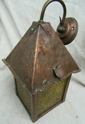 Arts & Crafts Mission Style Hammered Copper Porch Light Wall Sconce