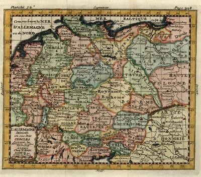 Germany Holy Roman Empire 1757 engraved Bion map lovely hand color
