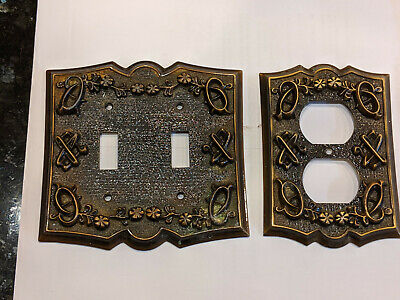 Vintage ornate brass light switch cover and receptacle (matched pair)