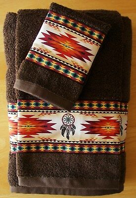 Southwest//Western Towels Set of 3,Turquoise with turquoise Aztec Border,rustic