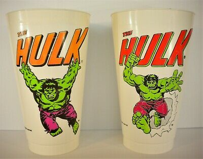 Amoco 1975 - 7 Eleven Store Release - The Hulk Vintage Plastic Drinking Cup Set