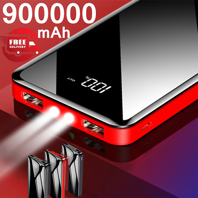 900000mAh Portable Power Bank Dual USB LED Pack Battery Charger For Mobile Phone