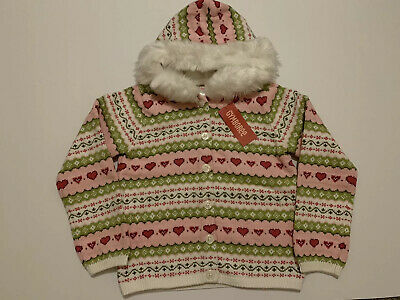 NWT Gymboree HOODED SWEATER GINGERBREAD GIRL Faux Fur Hood Button Down M 7-8 NEW