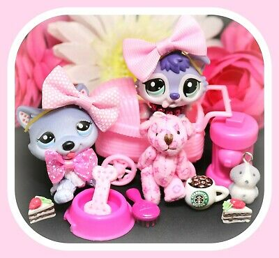 ❤️Authentic Littlest Pet Shop LPS 1617 1810 MOMMY BABY Husky Puppy Dog Lot❤️