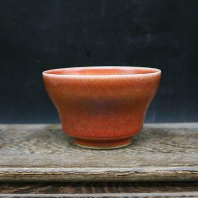 Chinese ancient antique hand make Red glazed tea cup a257