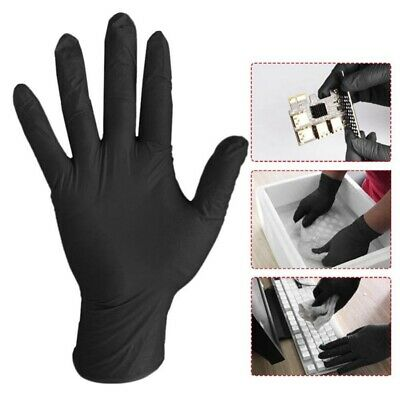 20* Black Nitrile Disposable Gloves Powder Latex Free Tattoo Mechanic Valeting