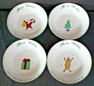 SET / 4 MERRY BRITE CHRISTMAS HOLIDAY Cereal Soup Bowls Reindeer Santa Tree Gift